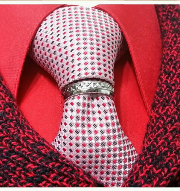 Tie ring bling tribute rhodium tone quality clasp pin tack euro new suit wedding