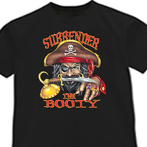 Surrender the booty funny pirate t-shirt funny men/'s t-shirt tee