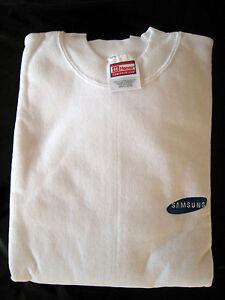 Rara-Vintage-Samsung-Hanes-Comfortblend-Camisa-Mangas-Largas-Blanco-nunca-usado-a2d10
