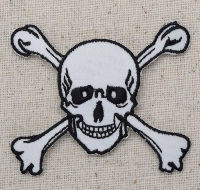 Large White Jolly Roger Skull//Crossbones Iron On Embroidered Applique Patch