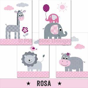 Kinderzimmer-Poster-Maedchen-Deko-Kinderbilder-Baby-Tiere-Wandbilder-Bilder-rosa