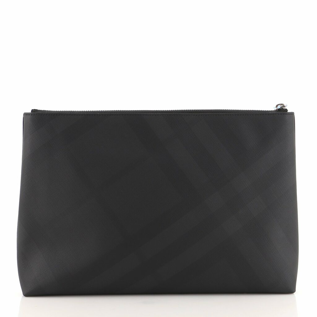 Burberry Front Zip Pouch Coated Smoked Check Canvas    eBay
