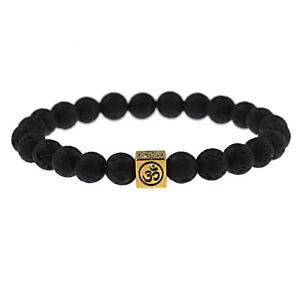 Men-Womens-Lucky-Lava-Stone-Yoga-Energy-Wrist-Mala-Square-OM-Beaded-Bracelets