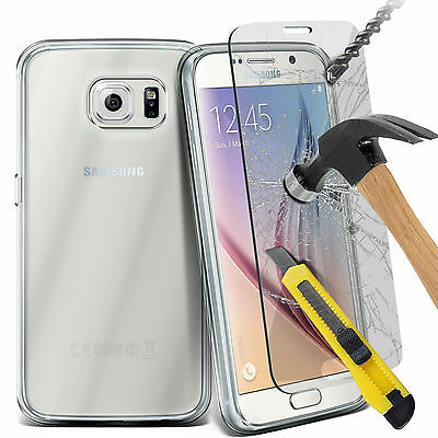 For Samsung Mobile Phone Clear Gel Rubber TPU Case & Tempered Glass Film Cover