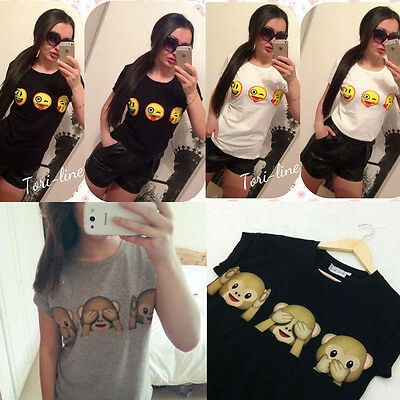 New Women's Casual Summer Cute Funny EMOJI Printed T-Shirt  Short Sleeve Blouse