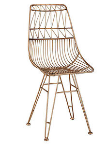 Amazing Details About Anthropologie Bend Goods Style Copper Rose Gold Wire Dining Accent Vanity Chair Forskolin Free Trial Chair Design Images Forskolin Free Trialorg