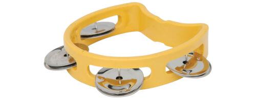 Chord Mini Tambourine D Shaped Half Moon Kids Miniature Small - Yellow