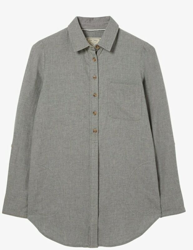 Fat Face Jane Grey Marl Longline Shirt- Size 10 Bnwt We Have Won Praise From Customers