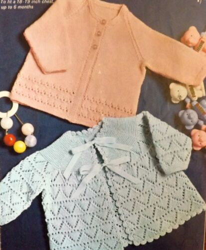 Vintage Knitting Pattern Baby 2 Style Lacy Matinee Coat Ribbon//Button4 Ply P6031