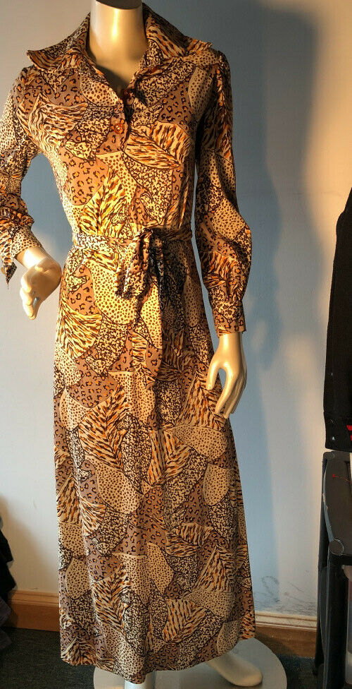 Vtg. Unique custom Long Sleeved collared Maxi Dress S Leopard jungle Print Bin-X