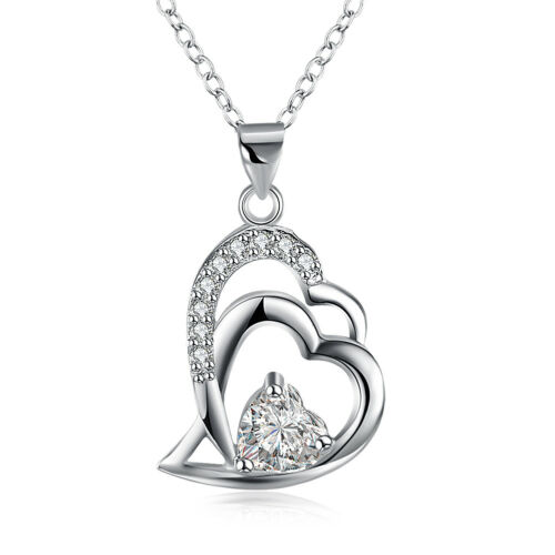 925 Hallmark Sterling Silver Filled Heart CZ Pendant Chain Necklace N510