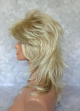 "16"" Long Light Blonde Feathery Shag Classic Cap Full Synthetic Wig - #57"