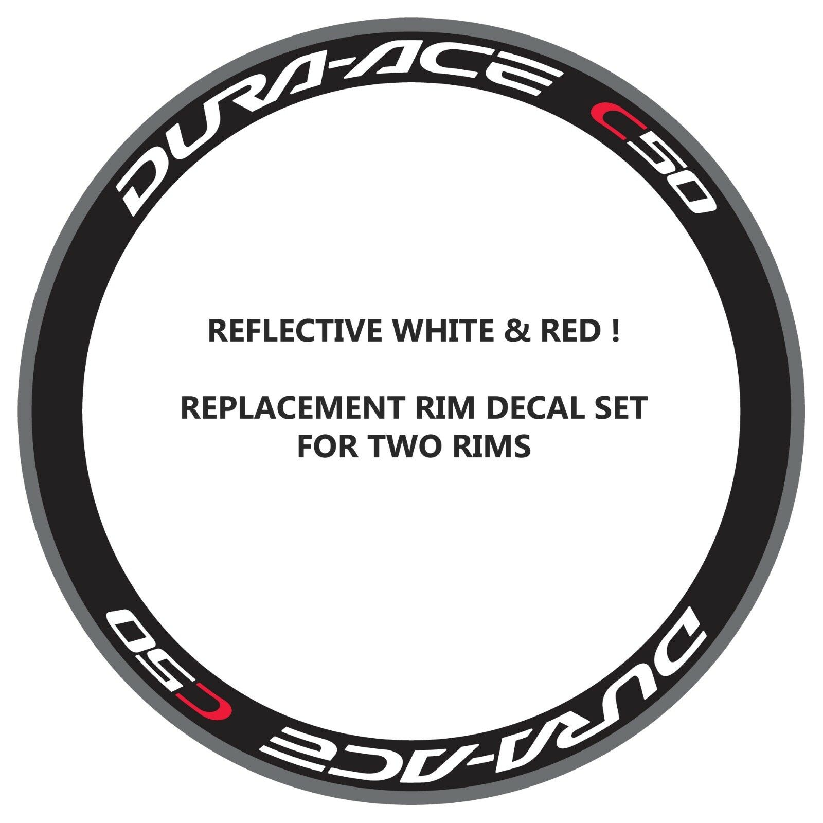 DURA ACE C50 REFLECTIVE WHITE RED REPLACEMENT RIM DECALS FOR 2 RIMS