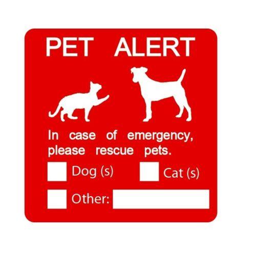 Pet alert rescue pet dog cat emergency fire red sticker vinyl decal