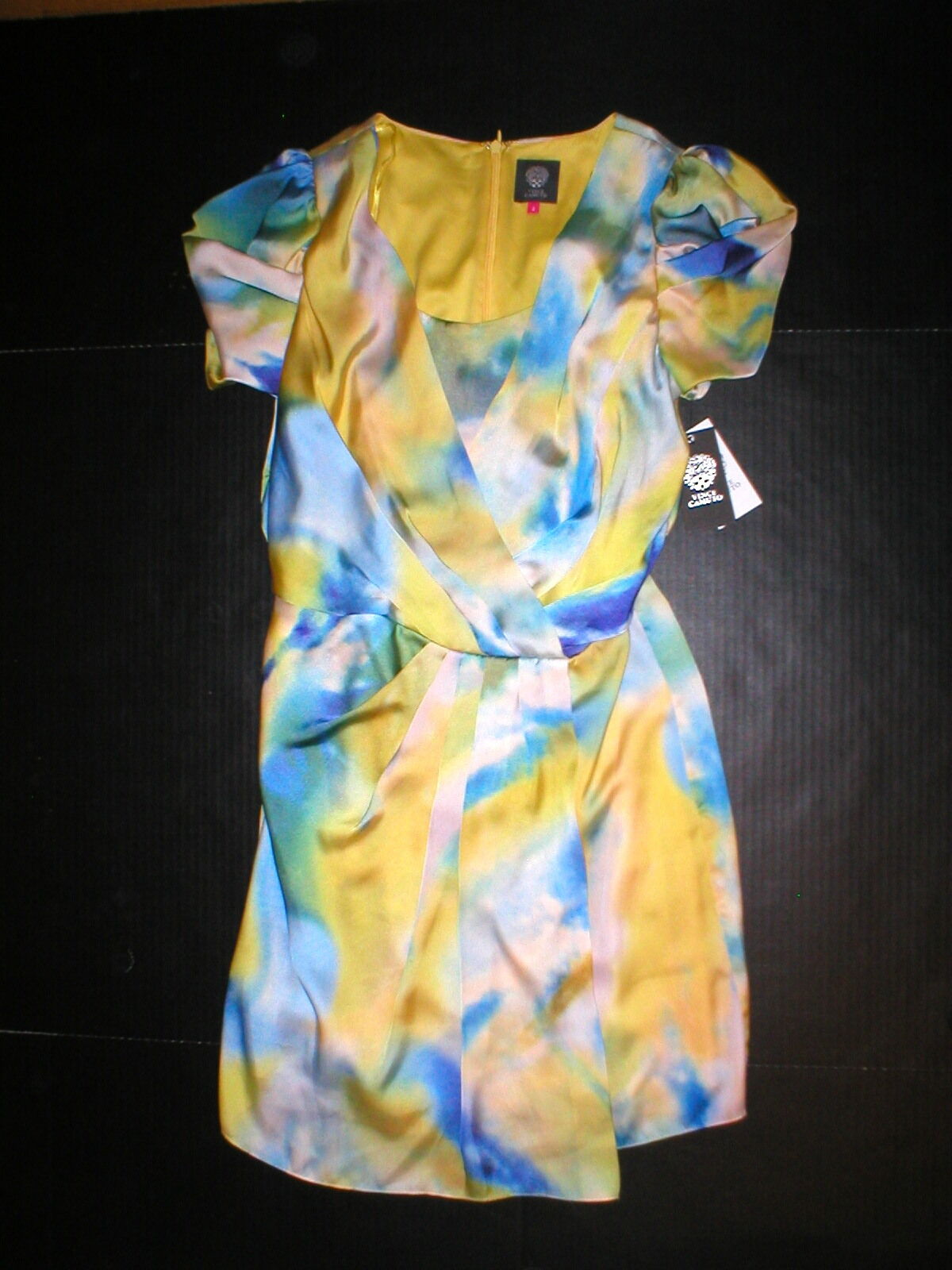 New damen 4 NWT  Vince Camuto Dress Blouson WaterFarbe Blau Gelb Weiß