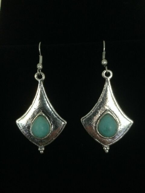 Earrings Silver Turquoise Hippie Ethnic Boho Tribal Bohemian A1073