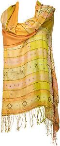 ricamata Soie scamosciata in Sciarpa a mano Stola sera Pashmina pura seta da 100seta CxrBedoW