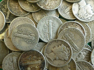 Mercury Dimes Bulk Lot Of 40 Selected Circulated .900 Silver USA 10 Cent Coins