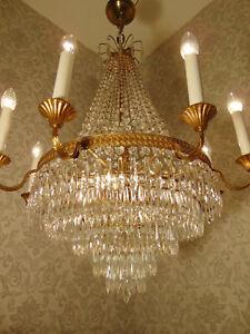 antik Rar. grosser Kronleuchter Lüster Deckenlampe Bronze Gold Kristall ca.1900