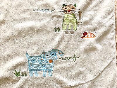 Pottery Barn Kids Soft Beige Cat Dog Blanket Baby Security