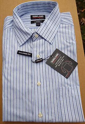 NWT KIRKLAND TAILORED FIT NO-IRON SPREAD  DRESS SHIRT BLUE//GRAY STRIPE-16 34