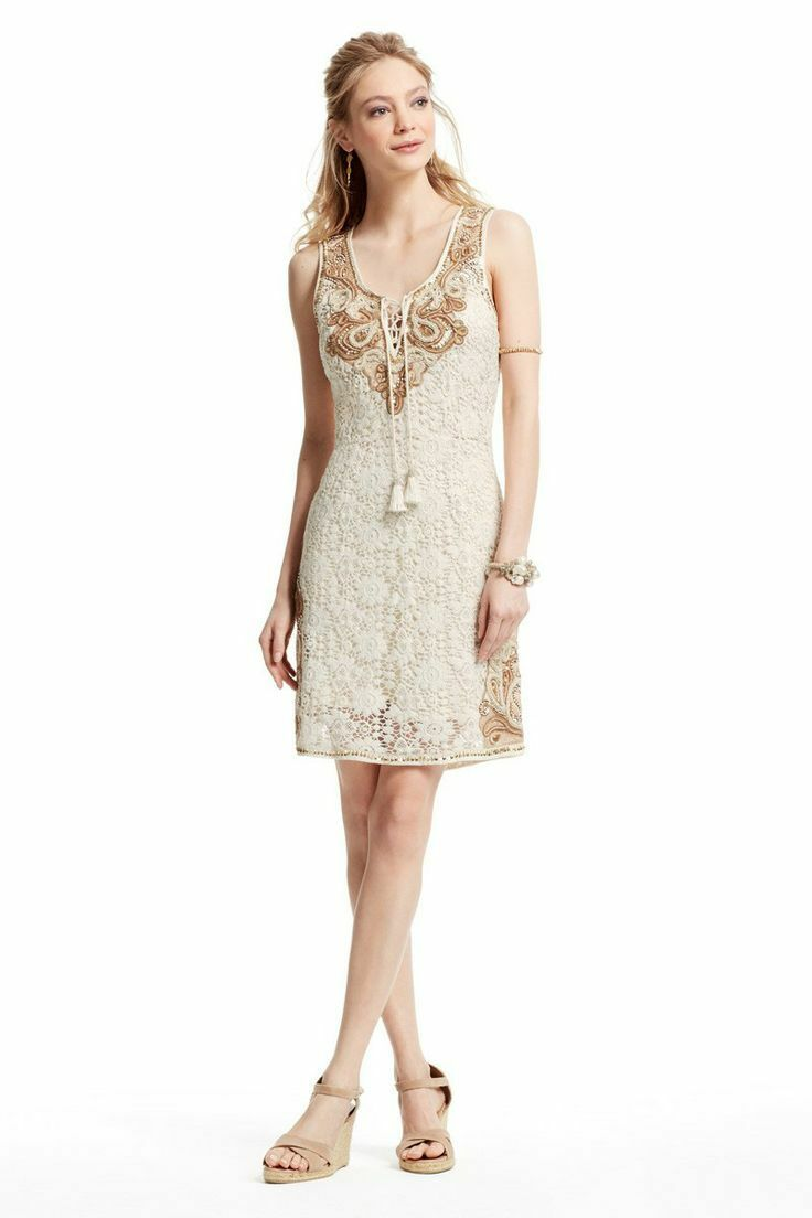 475 NEW Calypso St. Barth Garita Lace Embroidered Sheath Cotton Beige Dress XS