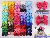Lot 6/12/18/24/50PC 5inch Solid Grosgrain Ribbon big Hair Bows Clip(50 colors)