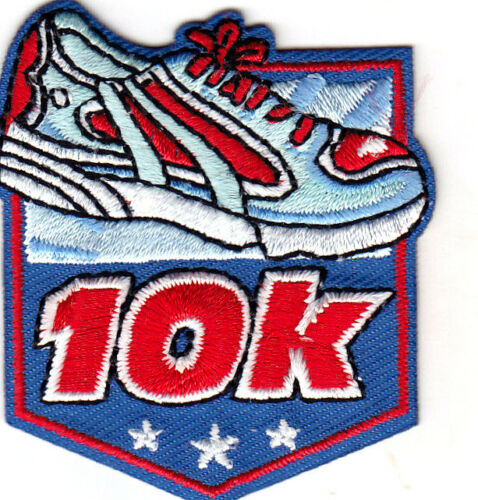 "Sports /""10K/"" w//BLUE ATHLETIC SHOE Iron On Embroidered Patch Words Running"