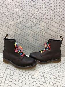 Dr-Martens-1460-PASCAL-RAINBOW-Black-Leather-Lace-Up-Ankle-Boots-Men-s-Size-10