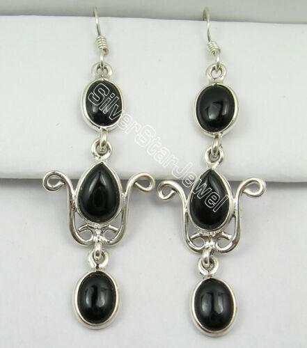 Sterling Silver Cabochon Noir Onyx 8.2 total Carat peser Drop Dangle Boucles d/'oreilles Femmes Bijoux