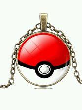 "Pokemon Moon Jewelry Red Pokéball Pendant 20"" Necklace Pikachu Pokémon Go USA"