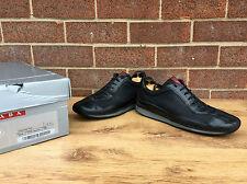 Prada negro guante suave italiano hecho Zapatos Zapatillas Sneakers UK 6.5 nos 7.5 e 40.5