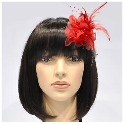 Haarblumen Z132 Feder Fascinator Ansteckblume Brosche Clip Lafairy Haardeko