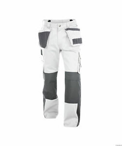 Details About Dassy Seattle Work Trousers Pants White Grey Painters Decorators Short Reg Tall