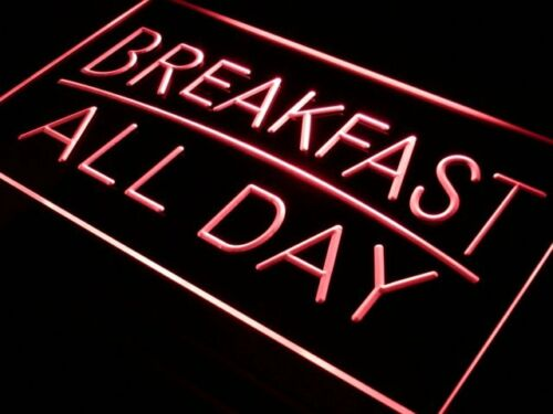 i311-r BREAKFAST ALL DAY OPEN Cafe Bar Neon Light Sign