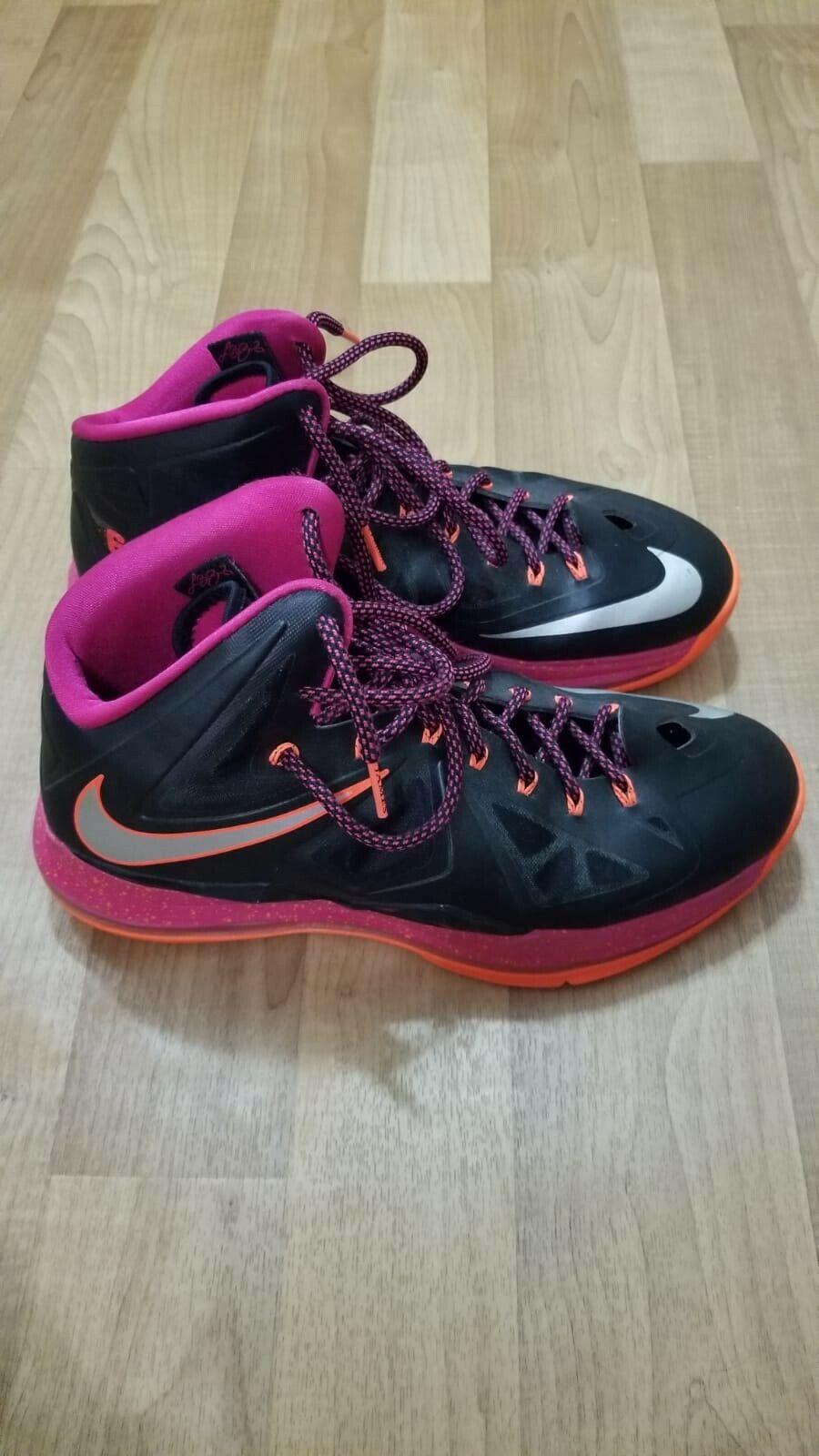 Nike Lebron X Floridians 541100-005 Black Fireberry MEN SZ 11.5 US PREOWNED