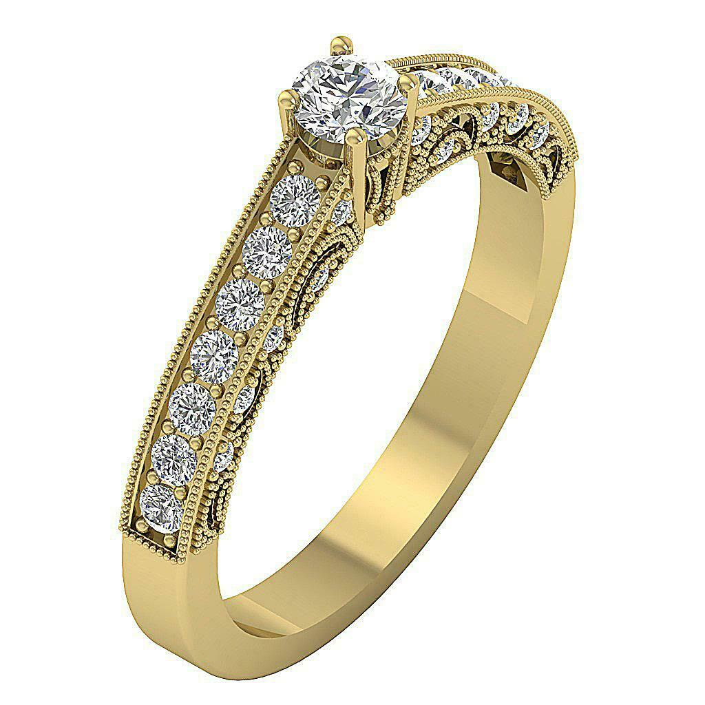 I1 G Solitaire Engagement Ring 0.70 Ct Genuine Diamond 14K Solid gold 3.70 mm