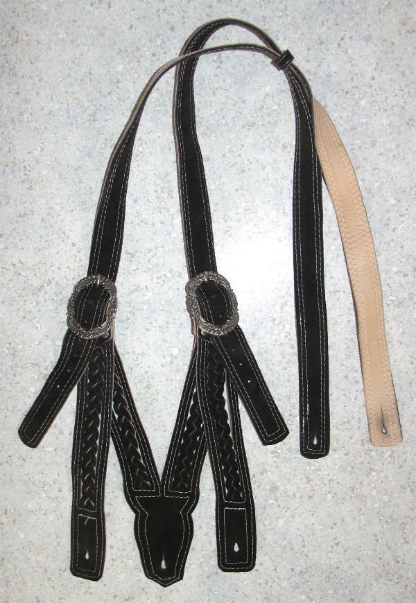 geflochtene Leder- HOSENTRÄGER in schwarz für Trachten- LEDERHOSE (n) bis 110cm