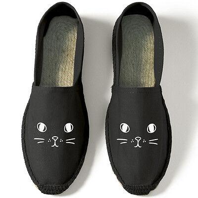 Katze Gesicht Espadrille Schuhe ohne Bügel Sandle lustiger Spruch Mode Strand