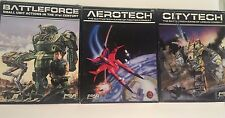 FASA Battletech box Game lot x3: Aerotech 1609 Cityforce 1608 Battleforce 1611