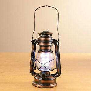 old fashioned copper LED oil lamp HURRICANE outdoor LANTERN ...