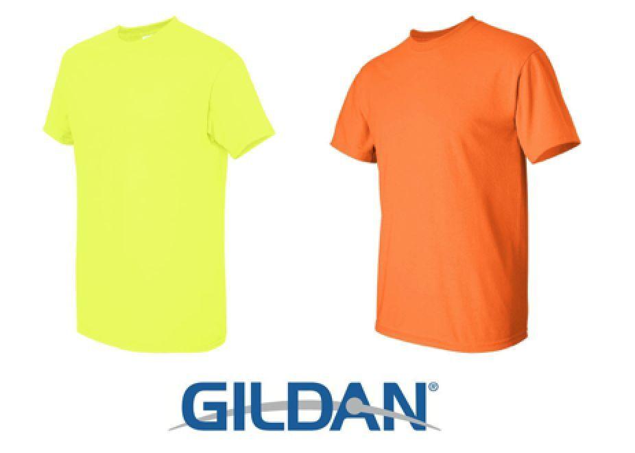 32 T-SHIRTS Blank 16 SAFETY GREEN 16 SAFETY orange BULK LOT S-XL Gildan 5000
