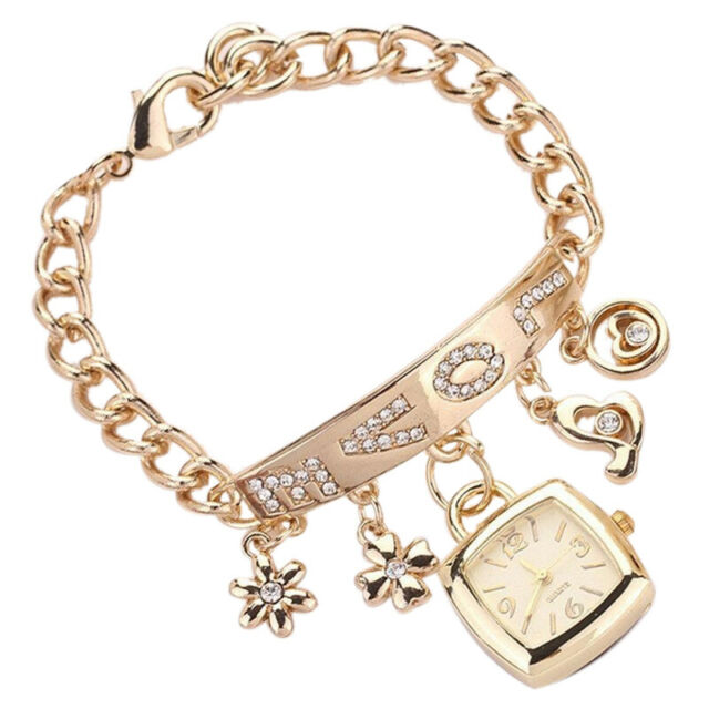 Fashion Women's LOVE square Stainless Steel Bracelet Wrist Watch Gold S4W1