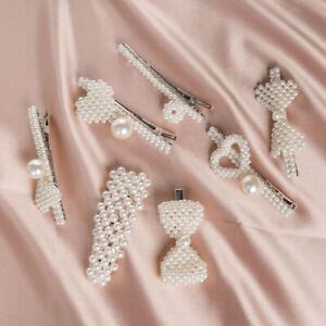 Fashion-Women-Pearl-Hair-Clip-Snap-Barrette-baton-en-epingle-a-Cheveux-Fille-Cheveux-Accessoires