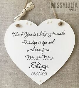Image Is Loading Personalised Thank You Wooden Sign Wedding Plaque Keepsake