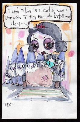GUS FINK Art outsider EMI BOZ lowbrow pop ooak disney DEPRESSED PRINCESS JASMINE