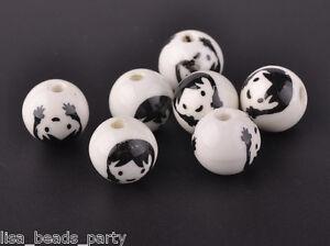 10pcs12mm-Round-Porcelain-Ceramic-Flower-Loose-Big-Hole-Beads-Charms-Black-Baby