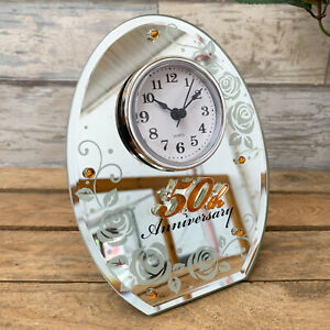 New-Happy-50th-Golden-Wedding-Anniversary-Standing-Oval-Mirror-Mantle-Clock-Gift