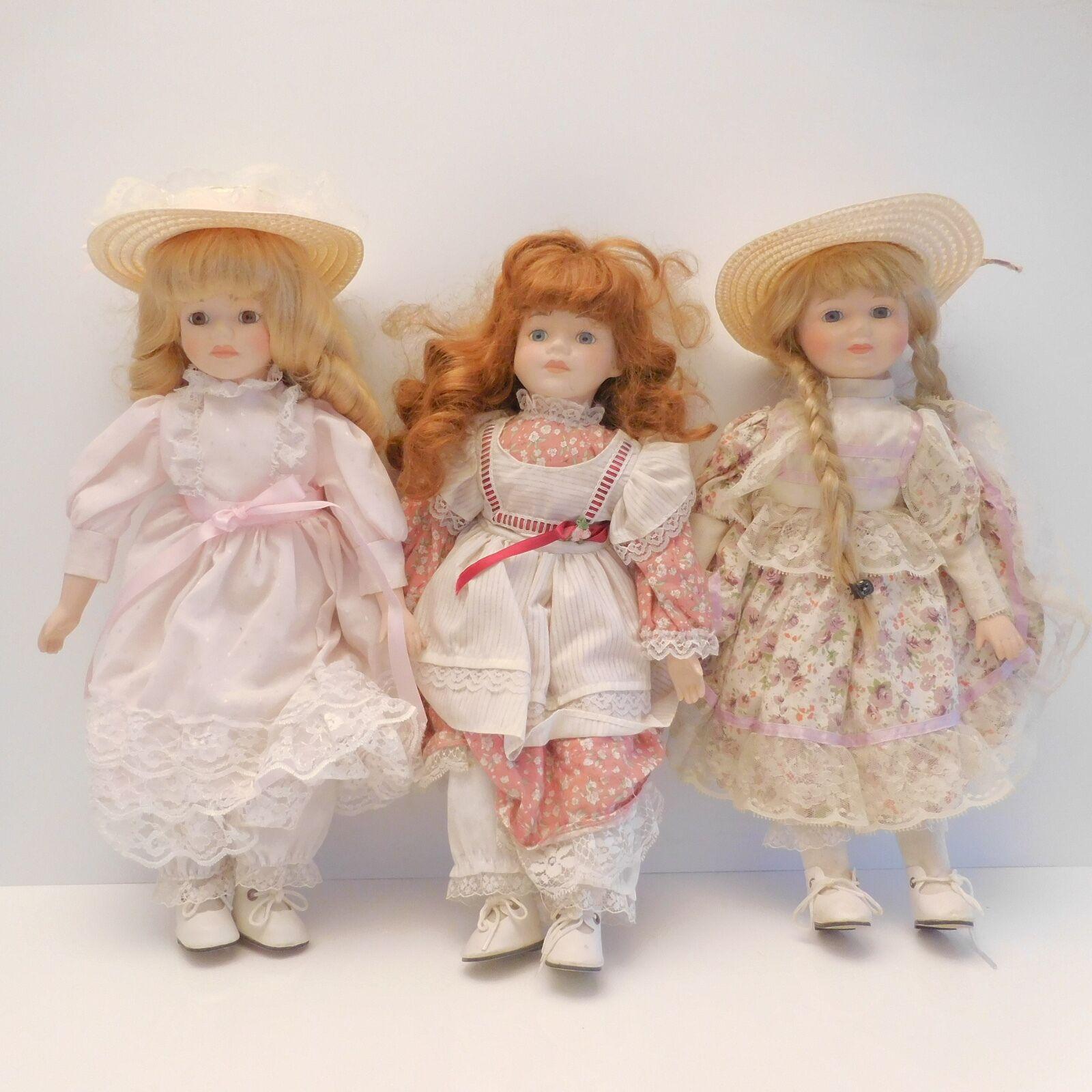 Lot 3 poupées céramique porcelaine The Classique Collector rosa Louisa Jessica