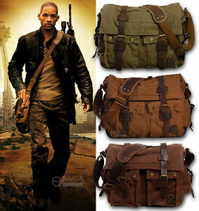 Men's Vintage Canvas Leather Military X-Large 15 Laptop Shoulder ...